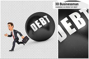 3D Businessman Running Debt