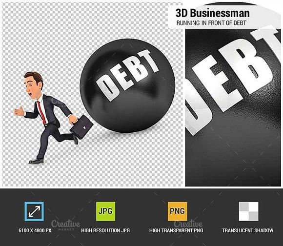 3D Businessman Running Debt
