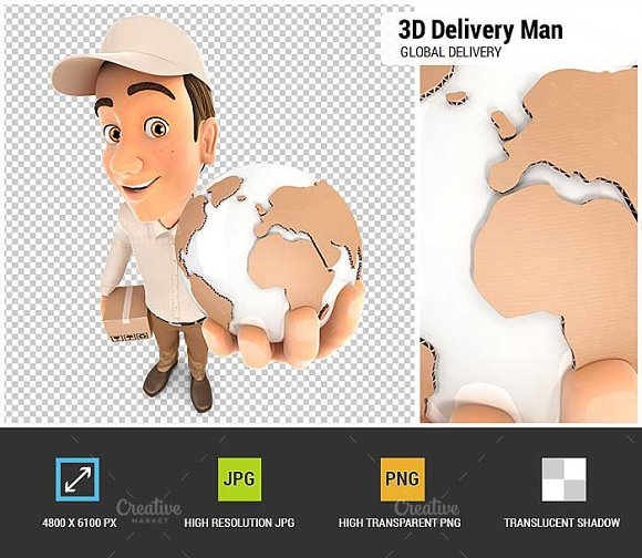 3D Delivery Man Global Delivery
