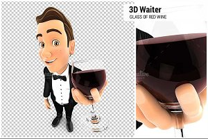 3D Waiter Holding Glass of Red Wine