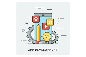 Mobile application development. Vector flat illustration.