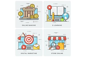 Online banking. E-learning. Digital marketing. Store online. Vec