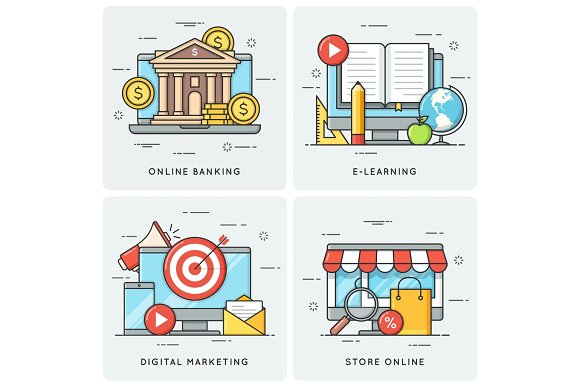 Online Banking E-learning Digital Marketing Store Online Vec