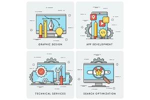 Graphic design. Mobile app development. Technical services. SEO