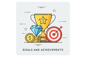 Goals and achievements. Vector flat illustration.