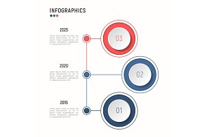 Iinfographic template for data visualization. 3 steps.