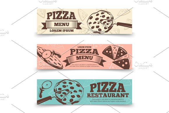 Pizza Menu Banners Template Food Vintage Banners