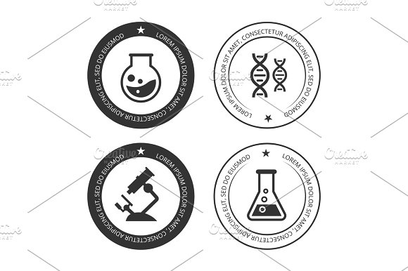Science Labels Collection With Silhouette Icons
