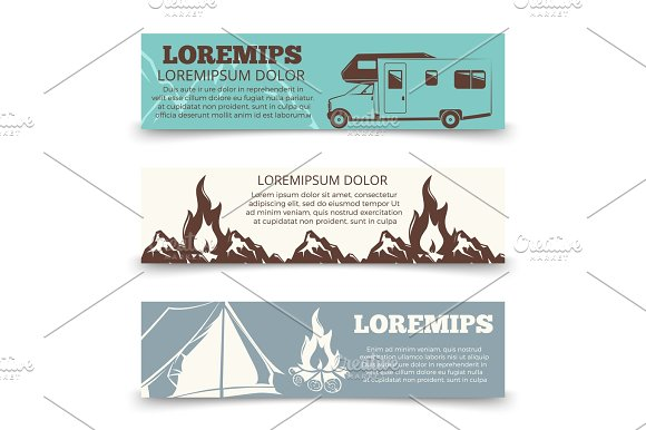 Vintage Camping Banners Template Collection