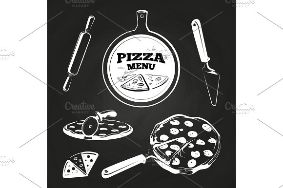 Vintage Pizza Elements On Chalkboard