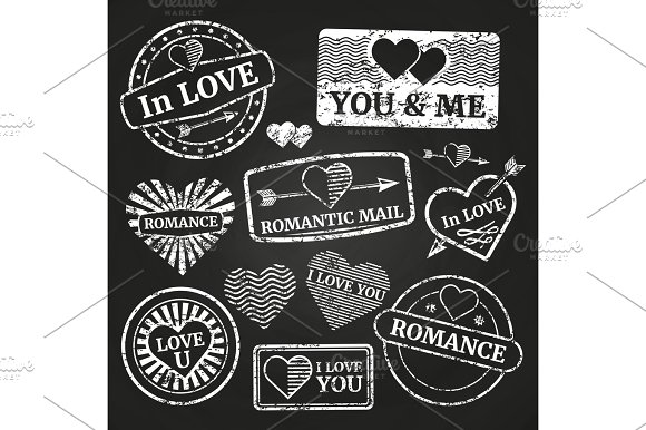 Romantic Postage Grunge Stamp Collection