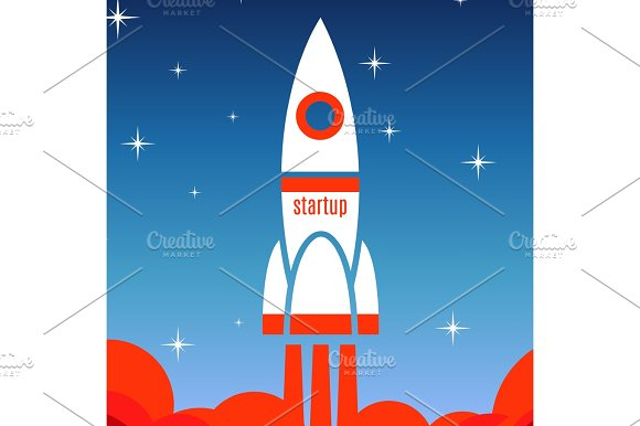 Startup Concept Background With Spaceship