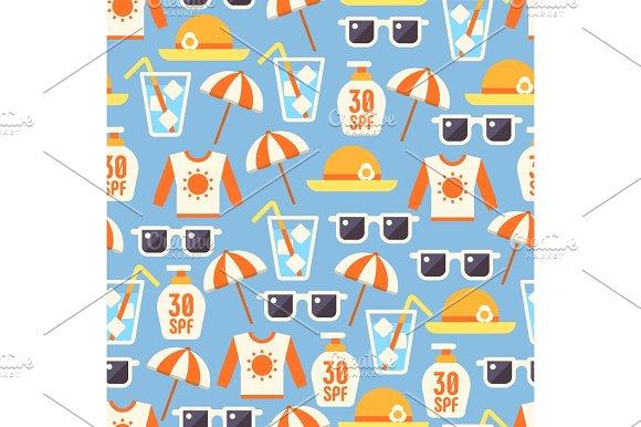 Sun Protect Seamless Pattern With Lotion Sun Glasses Beach Umbrella