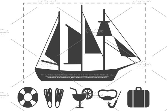 Sailboat Travel Info Poster Elements