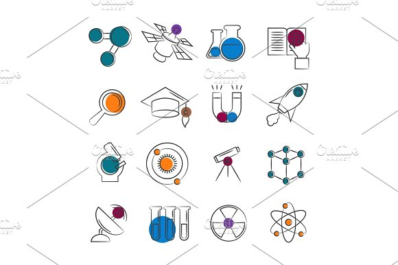 Science Line Icons Collection With Colorful Details