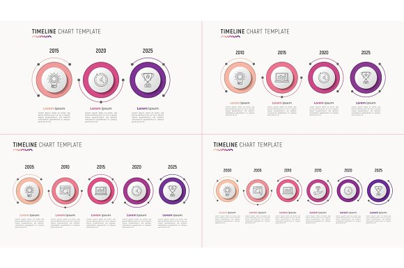 Timeline Chart Infographic Designs For Data Visualization 3-6 S