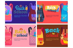 Backpacks for Children with School Stationery Sets
