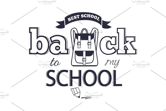 Back to my School Black-and-White Isolated Sticker