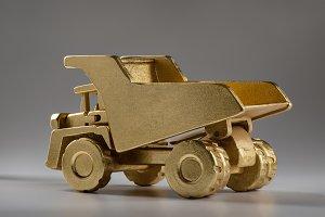 Large gold mining dump truck.