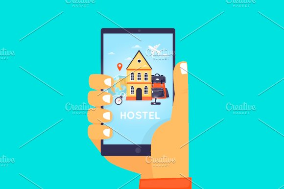 Hostel Booking On-line. in Illustrations