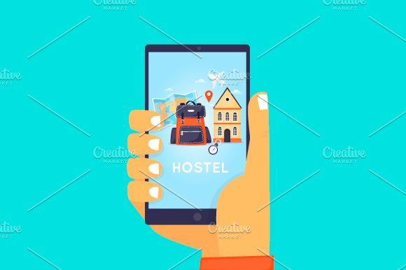 Hostel Booking On-line. in Illustrations - product preview 1