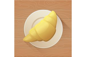 Tasty buttery croissant on plate and old wooden table. Vector flat illustration