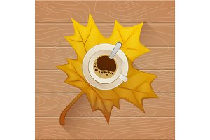 Coffee cup on the autumn fall leaves and wooden old table background. Flat vector illustration