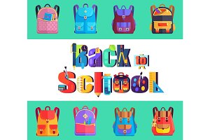 Back to School Poster with Rucksacks and Bags