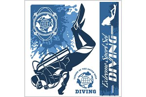 diving club illustration and labels set
