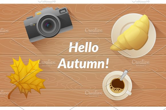 Hallo Autumn Text Tasty Buttery Croissant And Cup And Camera Of Hot Coffee On Old Wooden Table With Yellow Leaves Vector Flat Illustration