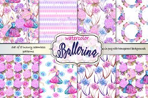 Watercolor ballerina pattern set