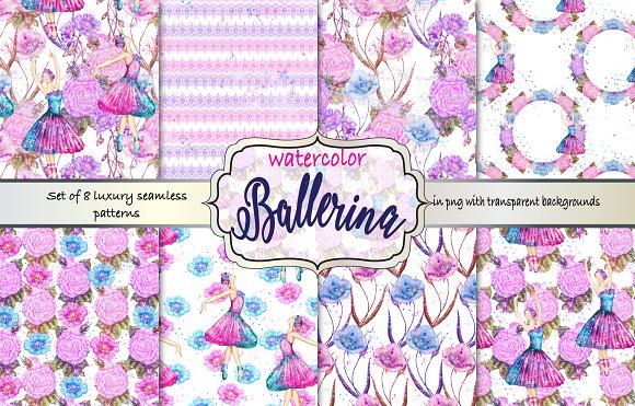 Watercolor Ballerina Pattern Set