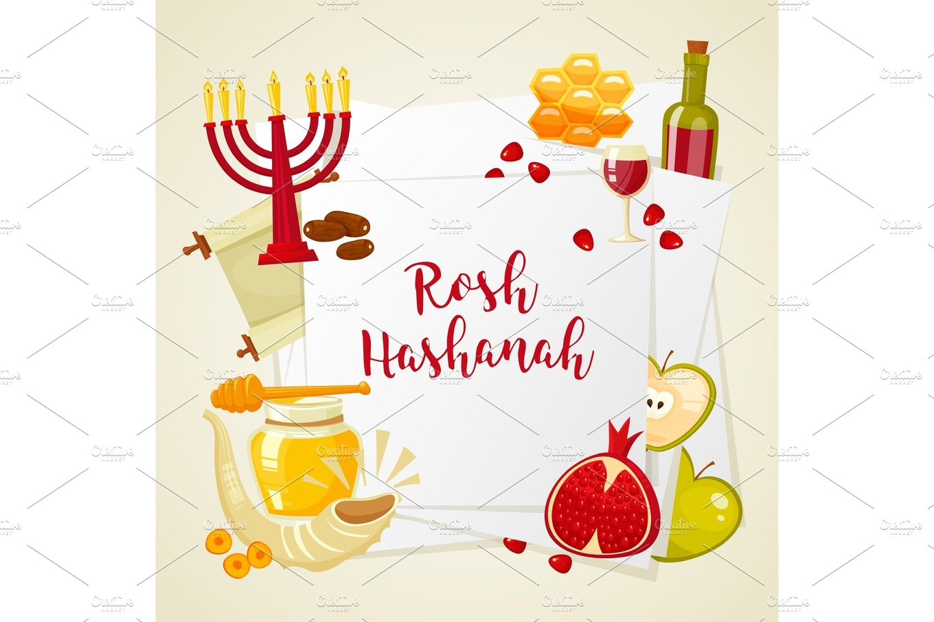 Cartoon flat vector illustration of icons for jewish new year cartoon flat vector illustration of icons for jewish new year holiday rosh hashanah objects creative market kristyandbryce Images