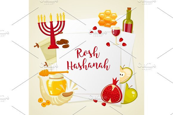 Cartoon Flat Vector Illustration Of Icons For Jewish New Year Holiday Rosh Hashanah