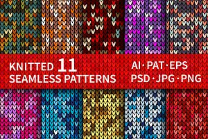 11 Knitted Seamless Patterns Preset