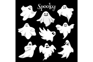 Scary white ghosts design on black background - Halloween celebration