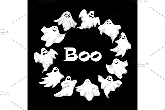 Cartoon Spooky Ghost Character Vector Set Spooky And Scary Holiday Monster Design Ghost Character Costume Evil Silhouette Ghost Character Creepy Funny Cartoon Cute Spooky Night Symbol
