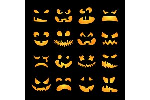 Scary Halloween pumpkin faces set