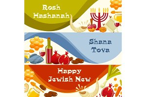 Rosh Hashanah, Shana Tova or Jewish New year cartoon flat vector banners set . Cartoon flat style vector illustration