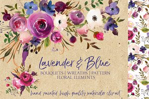 Lavender & Blue Watercolor Flowers