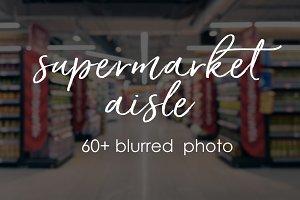 Blurred supermarket aisle pack