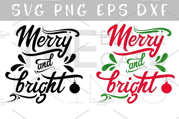 Merry And Bright SVG DXF EPS PNG
