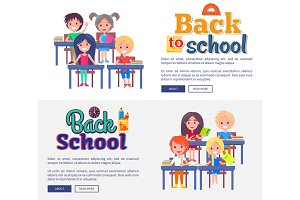 Back to School Collection of Posters on White