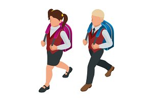 Isometric boy and girl back to school concept. Children go to school with their back packs and in school uniforms. Education. Happy to study. Vector illustration used for workflow layout, banner, game