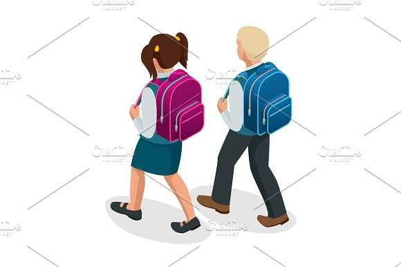 Isometric Boy And Girl Back To School Concept Children Go To School With Their Back Packs And In School Uniforms Education Happy To Study Vector Illustration Used For Workflow Layout Banner Game