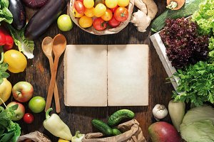 Cookbook, set of healthy food