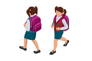 Isometric girl back to school concept. A student in school uniform goes to school with a backpack. Education. Happy to study. Vector illustration used for workflow layout, banner, game