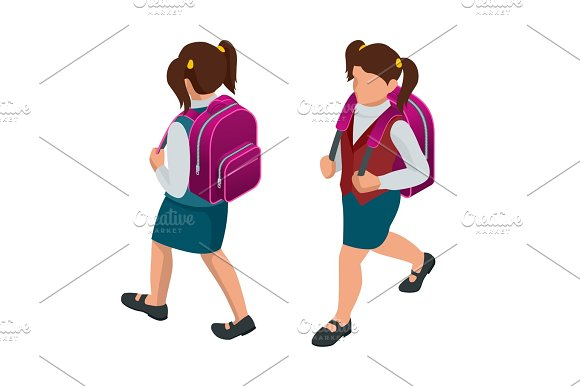 Isometric Girl Back To School Concept A Student In School Uniform Goes To School With A Backpack Education Happy To Study Vector Illustration Used For Workflow Layout Banner Game