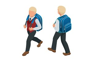 Isometric boy back to school concept. A student in school uniform goes to school with a backpack Education. Happy to study. Vector illustration used for workflow layout, banner, game