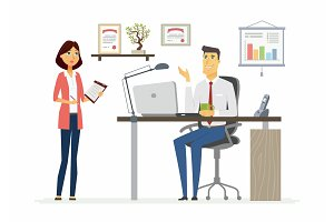 Office Scene - modern vector cartoon business characters illustration